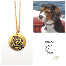 Load image into Gallery viewer, 22k Gold Personalized Pet Portrait Charm