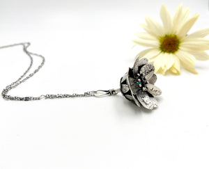 Hope Blooms- Sterling Flower Locket and Faceted Opal