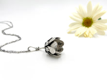 Load image into Gallery viewer, Hope Blooms- Sterling Flower Locket and Faceted Opal