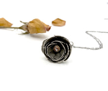 Load image into Gallery viewer, Blooming Rose with Rustic Rose Cut Diamond, 22k Gold and Sterling Flower Locket