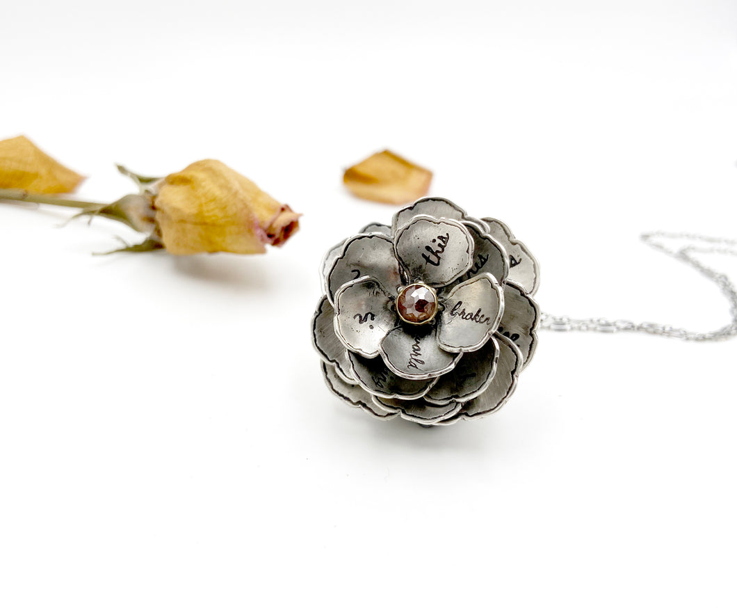 Blooming Rose with Rustic Rose Cut Diamond, 22k Gold and Sterling Flower Locket