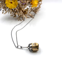 Load image into Gallery viewer, Sterling and Jewelers Brass Flower Locket with Faceted Onyx