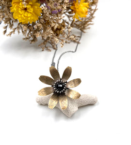 Sterling and Jewelers Brass Flower Locket with Faceted Onyx