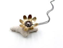 Load image into Gallery viewer, Sterling Silver and Jewelers Brass Courage Flower Locket