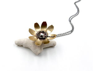 Sterling Silver and Jewelers Brass Courage Flower Locket