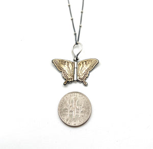 Sterling Silver and Brass Swallowtail Hinged Pendant