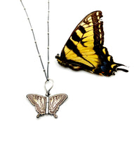 Load image into Gallery viewer, Sterling Silver and Brass Swallowtail Hinged Pendant