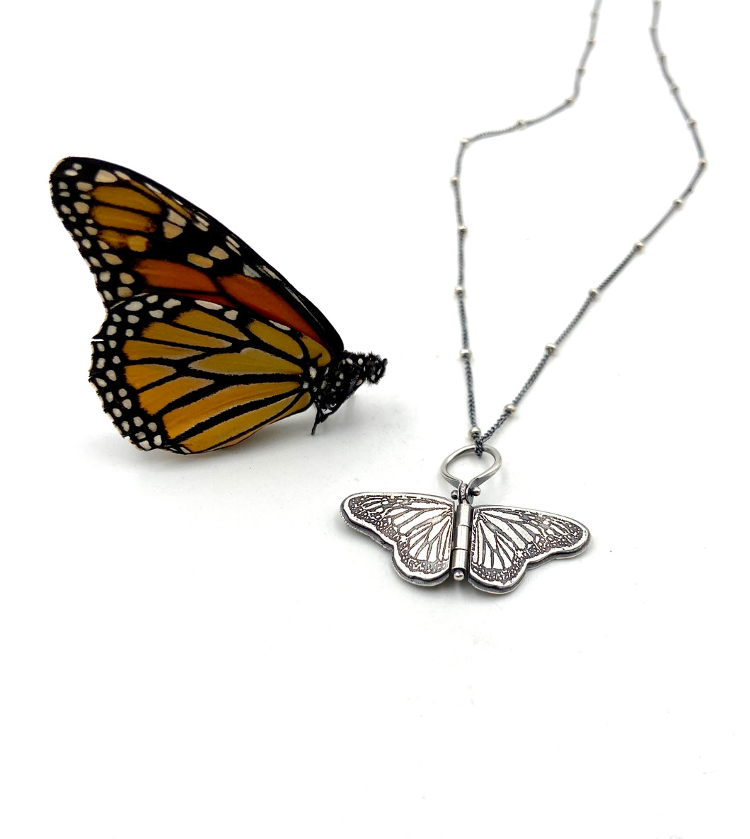 Tiny Sterling Silver Monarch Hinged Pendant #2