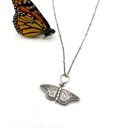 Tiny Sterling Silver Monarch Hinged Pendant