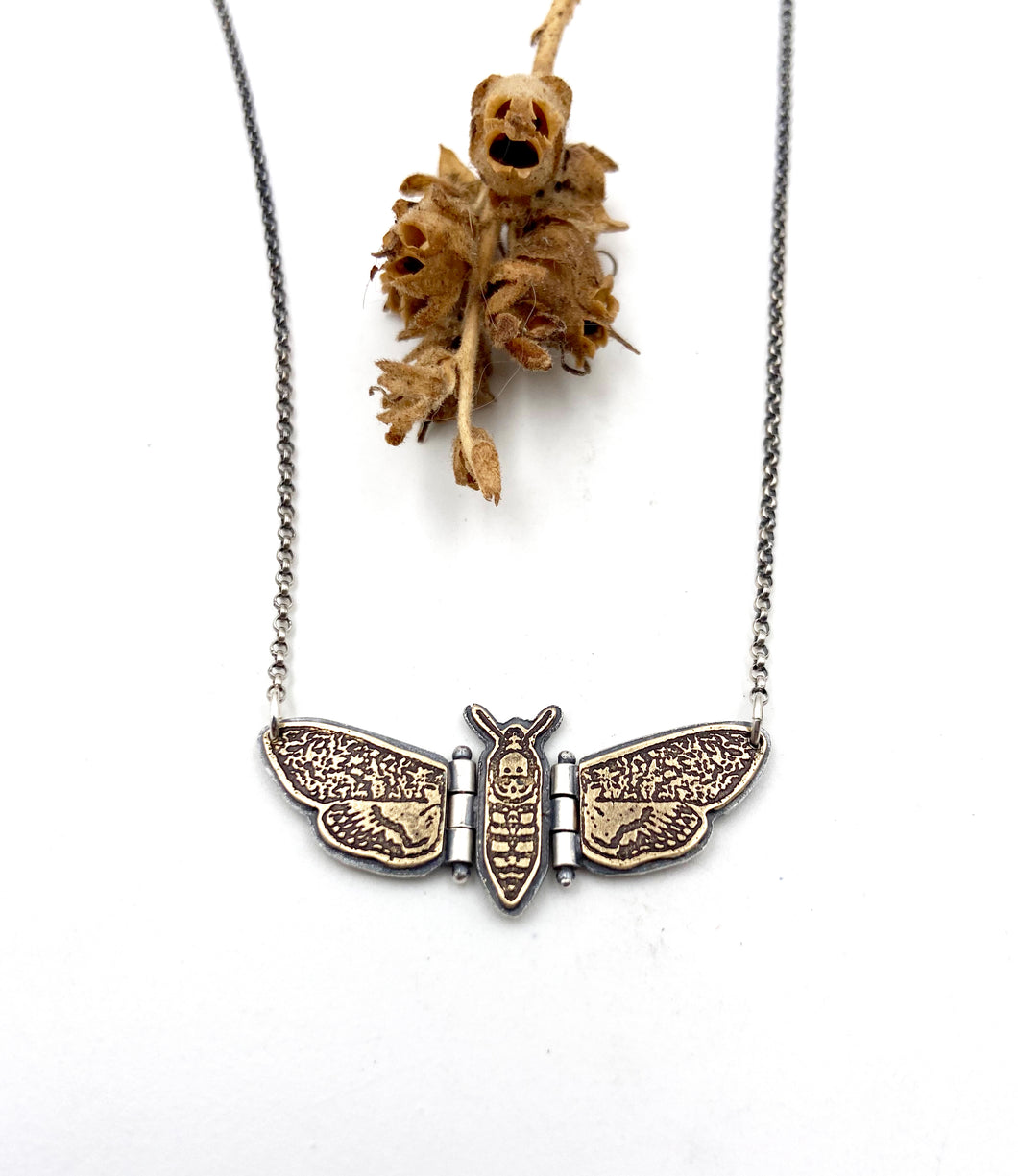 Tiny Sterling Silver and Brass Deaths Head Hawk Moth Hinged Pendant
