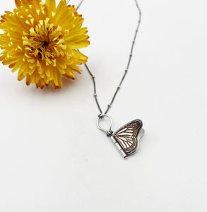 Tiny Sterling Silver and Brass Monarch Hinged Pendant