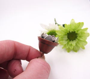 Sterling Silver Potted Plant with Golden Moonstone