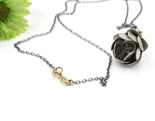 Load image into Gallery viewer, Rustic Rose Cut Diamond, 22k Gold and Sterling Flower Locket