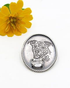 Etched Sterling Pet Portrait Lapel Pin