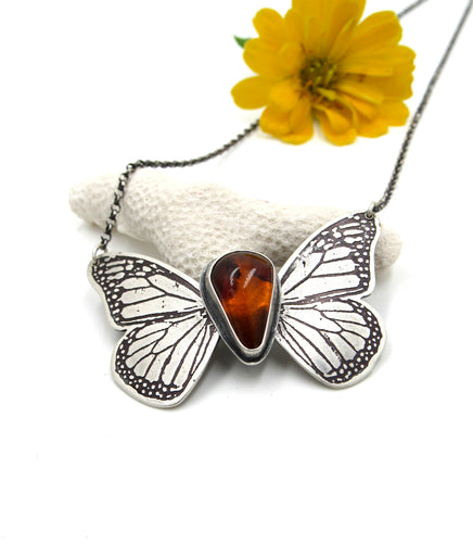 Hinged Monarch Butterfly Pendant in Sterling Silver with Amber
