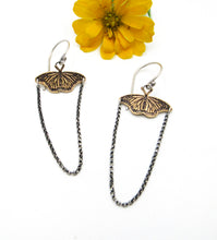 Load image into Gallery viewer, Sterling and Brass Monarch Butterfly Earrings