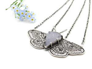 Emperor Moth Pendant in Sterling Silver with Druzy