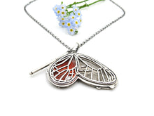 Load image into Gallery viewer, Sterling Silver Blushing phantom Glasswing Butterfly Pendant with Rumi Quote