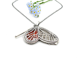 Sterling Silver Blushing phantom Glasswing Butterfly Pendant with Rumi Quote