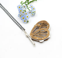 Load image into Gallery viewer, Sterling Silver and Brass Glass Wing Butterfly Pendant with Rumi Quote