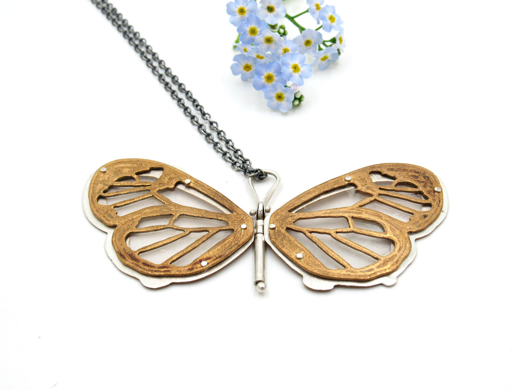 Sterling Silver and Brass Glass Wing Butterfly Pendant with Rumi Quote