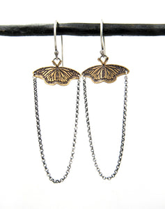 Sterling and Brass Monarch Butterfly Earrings