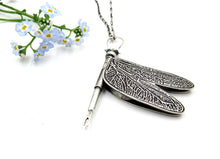 Load image into Gallery viewer, Dragonfly Locket in Sterling Silver with Sapphire