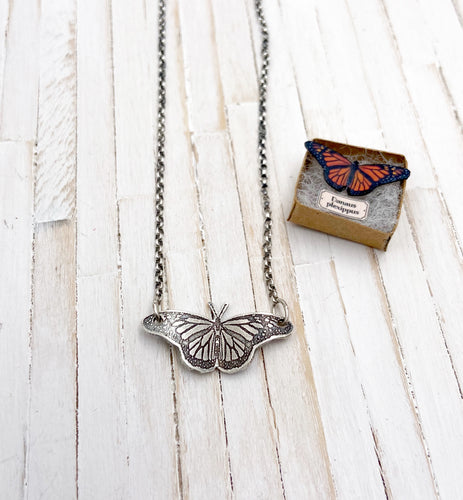 Tiny Stationary Monarch Butterfly Necklace