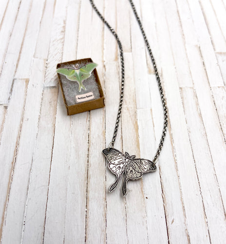 Tiny Stationary Luna Moth Necklace