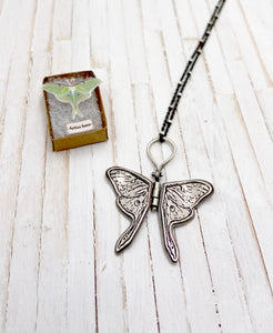 Tiny Sterling Silver Luna Moth Hinged Pendant