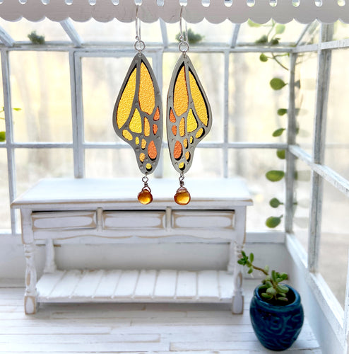 Stained Glass Monarch Wing Earrings
