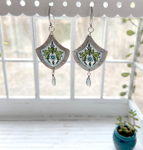 Small Stained Glass Earrings Sterling and Aquamarine