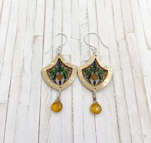Small Stained Glass Earrings Brass and Garnet