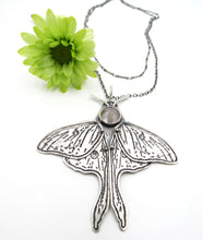 Load image into Gallery viewer, Sterling Silver and Rose Cut Sapphire Etched Luna Moth Pendant