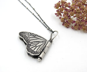 Miniature Sterling Silver Monarch Butterfly Locket Danaus plexippus