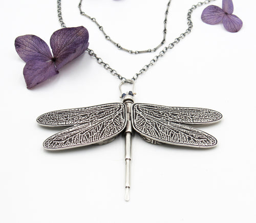 Dragonfly Locket in Sterling Silver with Sapphire