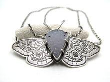 Load image into Gallery viewer, Emperor Moth Pendant in Sterling Silver with Druzy