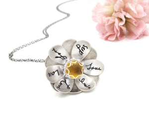 Full Of Love Custom Handwriting Flower Locket