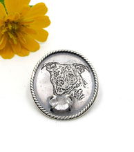 Load image into Gallery viewer, Etched Sterling Pet Portrait Lapel Pin
