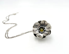 "Load image into Gallery viewer, Rilke ""No Feeling is Final"" Sterling Flower Locket and Canary Rose Cut Diamond"