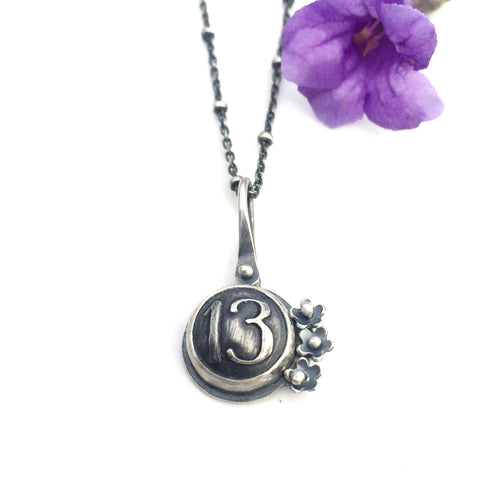 Lucky Number Sterling Silver Pendant- Made to Order