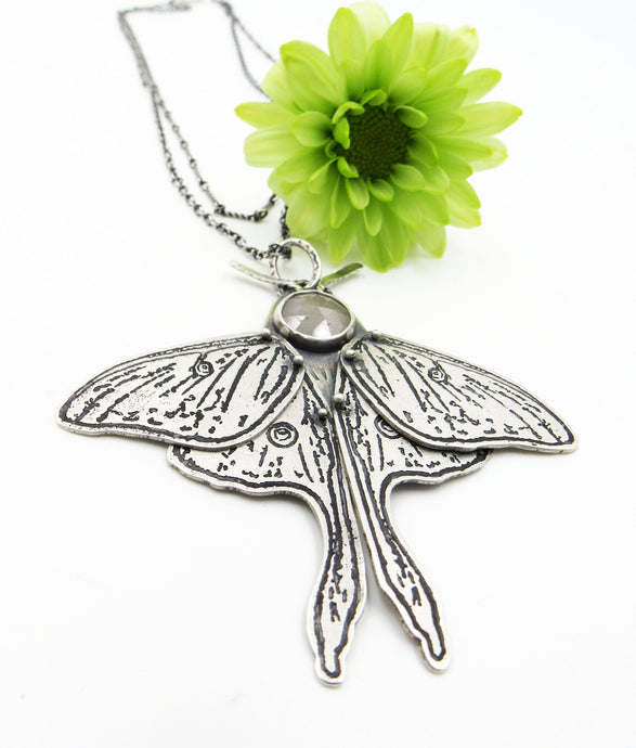 Sterling Silver and Rose Cut Sapphire Etched Luna Moth Pendant