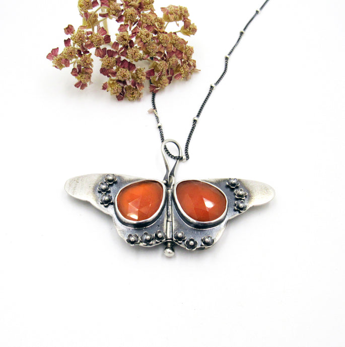 Miniature Sterling Silver Butterfly Locket with Faceted Carnelian