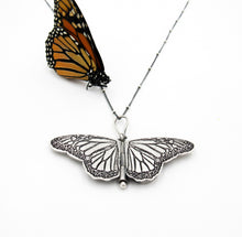 Load image into Gallery viewer, Miniature Sterling Silver Monarch Butterfly Locket Danaus plexippus