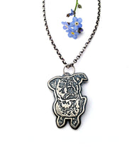 Load image into Gallery viewer, Sterling Silver Personalized Pet Portrait Pendant
