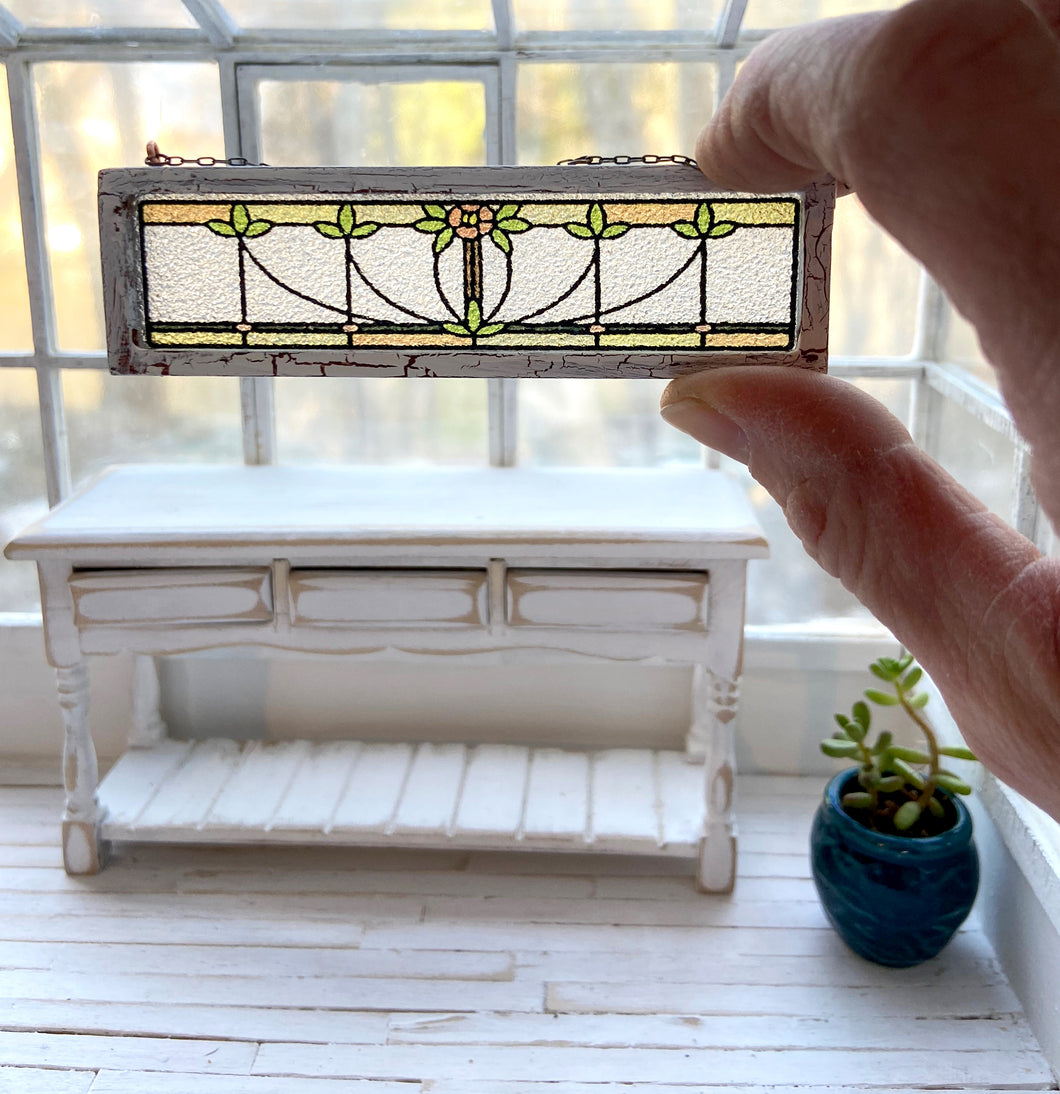 1:12 Scale Faux Stained Glass Transom Window