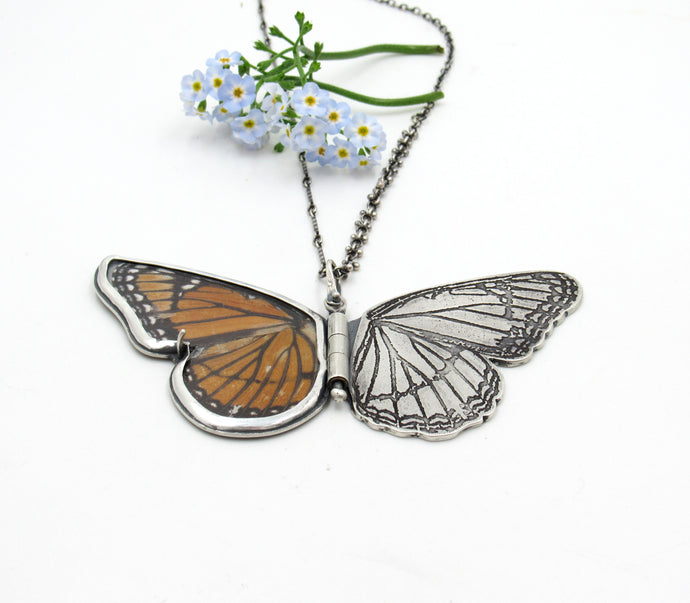 Sterling Silver, Brass Butterfly Pendant with Real Viceroy Wing
