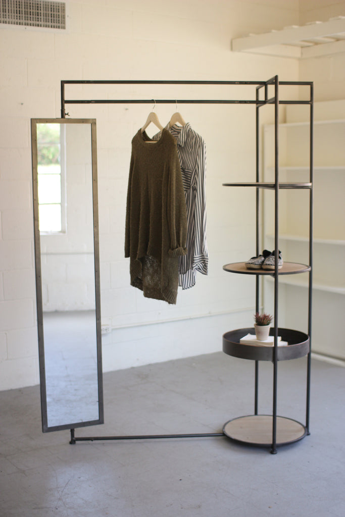 Metal Display Rack with Tall Rectangular Mirror