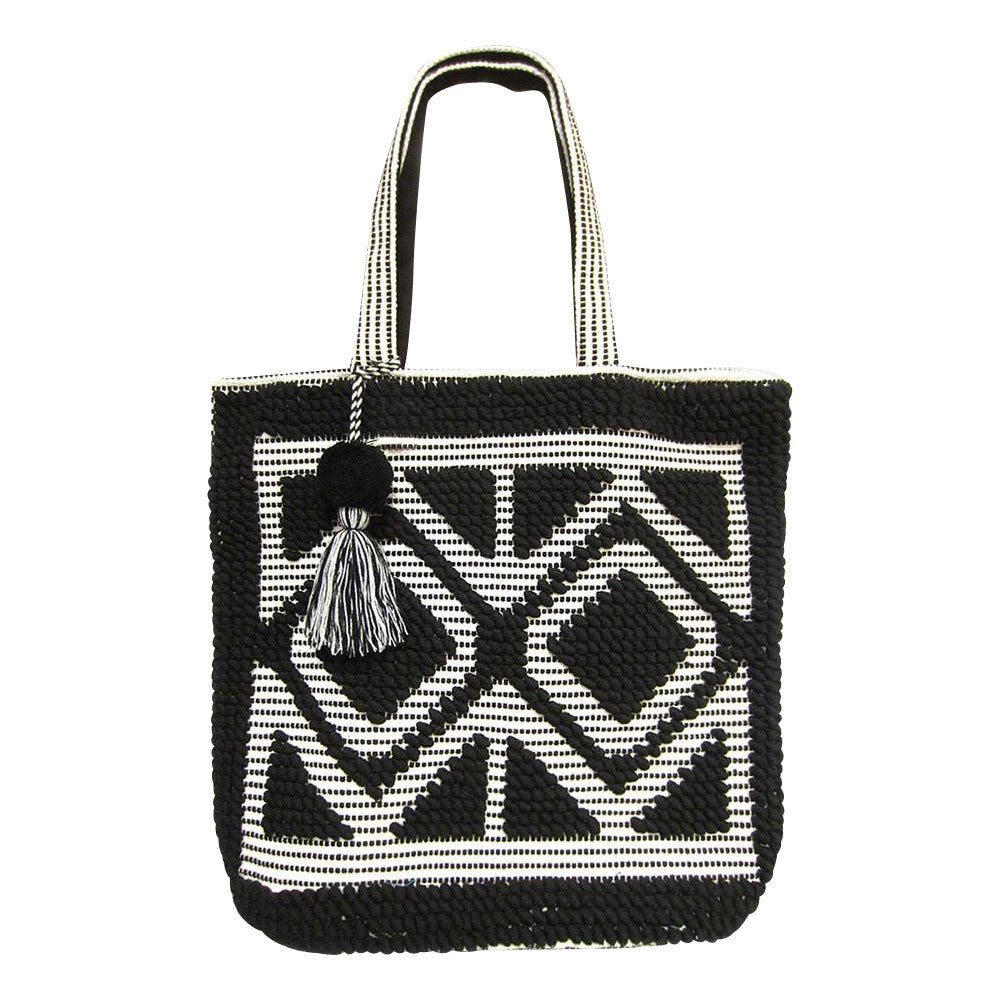 Boho Double Diamond Oversized Carpet Tote Bag with Tassel - Black