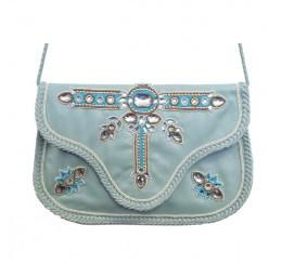 Leather Clutch/Crossbody with Crystal Work